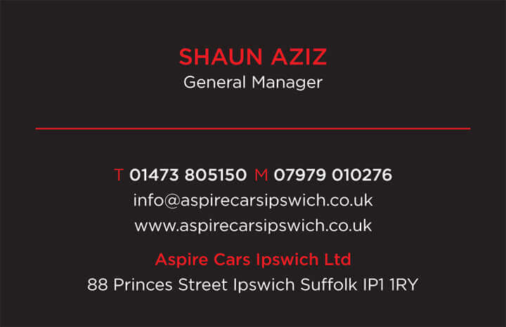 Aspire Cars Business Card back
