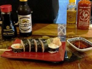 Delicious sushi and Kirin beer served at Kizuna Japanese Restaurant in Blue Ridge, GA