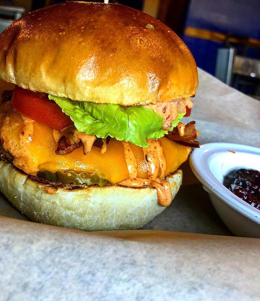 Chipotle Burger at Misty Mountain Hops in Blue Ridge, GA