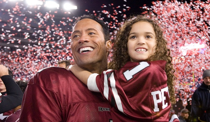 """The Game Plan"" (L-R) Dwayne ""The Rock"" Johnson, Madison Pettis Ph: Ron Phillips ©Disney Enterprises, Inc. All rights reserved."