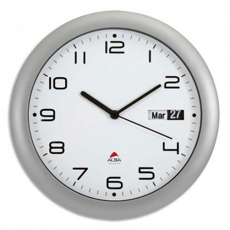 alba horloge murale ronde gris anthracite diametre 30 cm avec dateur