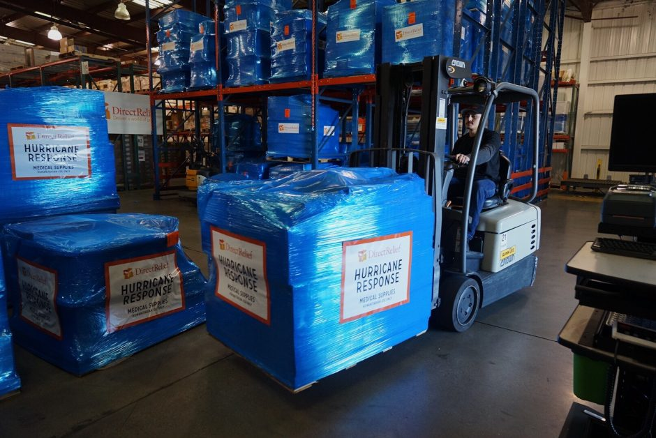 Direct Relief staff work to stage 200 pallets bound for Haiti in the organizations Santa Barbara warehouse on Dec. 20, 2016. The shipment, valued at $65 million, is the largest in the organization's 69-year history.
