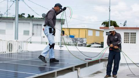 A solar power system is installed at Clínica Iella in San Juan, P.R., on July 5, 2018. The new solar system, funded by Direct Relief, will allow the clinic to sustain services during a power interruption. (Erika P. Rodriguez/Direct Relief)