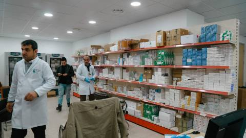 Medications and supplies are stored at Hiwa Cancer Hospital, the only specialized cancer hosital in Iraqi Kurdistan, and the second-largest provider of cancer care in all of Iraq. In partnership with Kurdistan Save the Children, a donation of requested chemotherapy medicine from Direct Relief was delivered to the hospital in January 2019. (Photo courtesy of Hiwa Cancer Hospital)