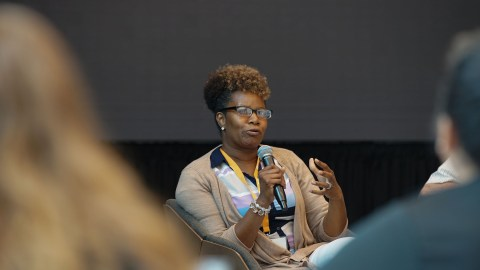 Shajauna Day, director of care coordination for Jericho Road Health Center in Buffalo, New York, speaks at Direct Relief headquarters July 18, 2019, as a part of the Community Health Summit, which focused on improving diabetes care for the most vulnerable. Jericho Road serves a large refugee population, and employs 30 interpreters, which speak more than 20 languages. The center, with funding from BD, has been able to train those interpreters to also function as diabetes educators to patients. (Lara Cooper/Direct Relief)