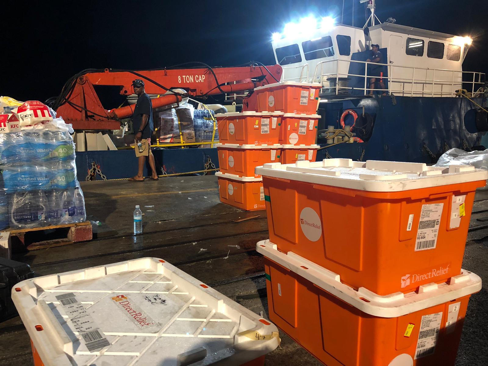 Caches of emergency medicines and medical supplies are prepped for transport from Nassau to be used by medical teams treating patients on the Abaco Islands. (Luis David Rodriguez/Direct Relief)