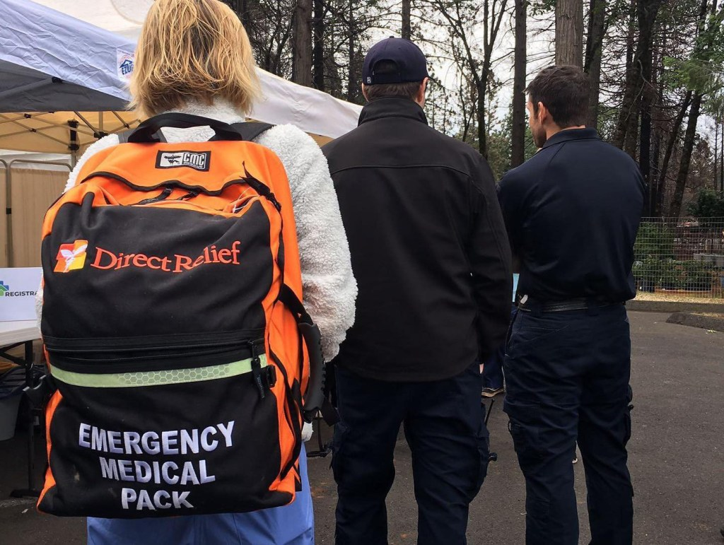 Medspire Health staff mobilize a temporary clinic in Magalia, California. The group is working to reach patients that may no longer have reliable access to health care after the Camp Fire. (Photo courtesy of Medspire Health)