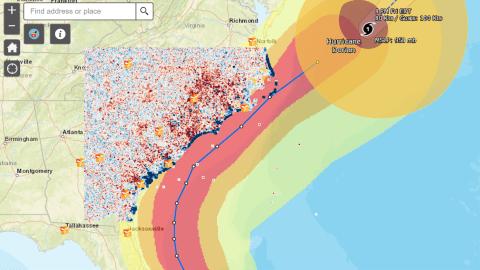 Hurricane Dorian's path up the U.S. East Coast.