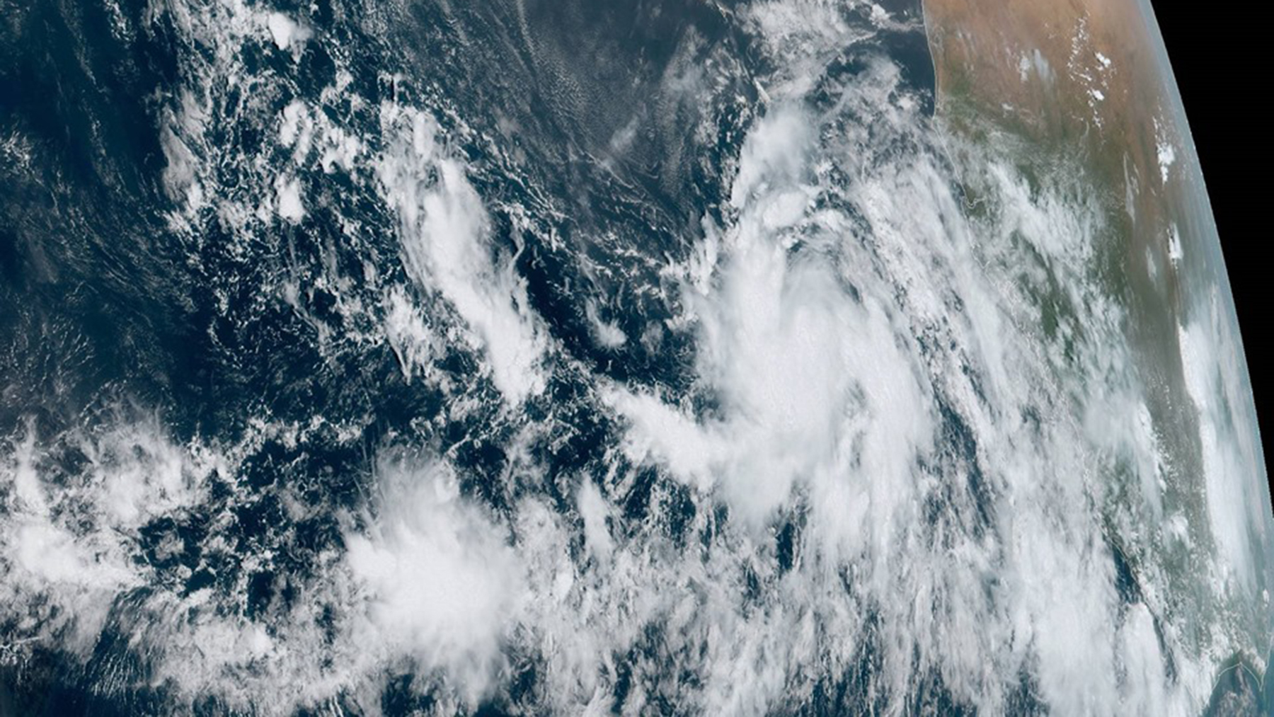 Tropical Storm Lorenzo, positioned over the eastern Atlantic Ocean in an image taken on Monday, September 23. (Photo courtesy of the National Hurricane Center)