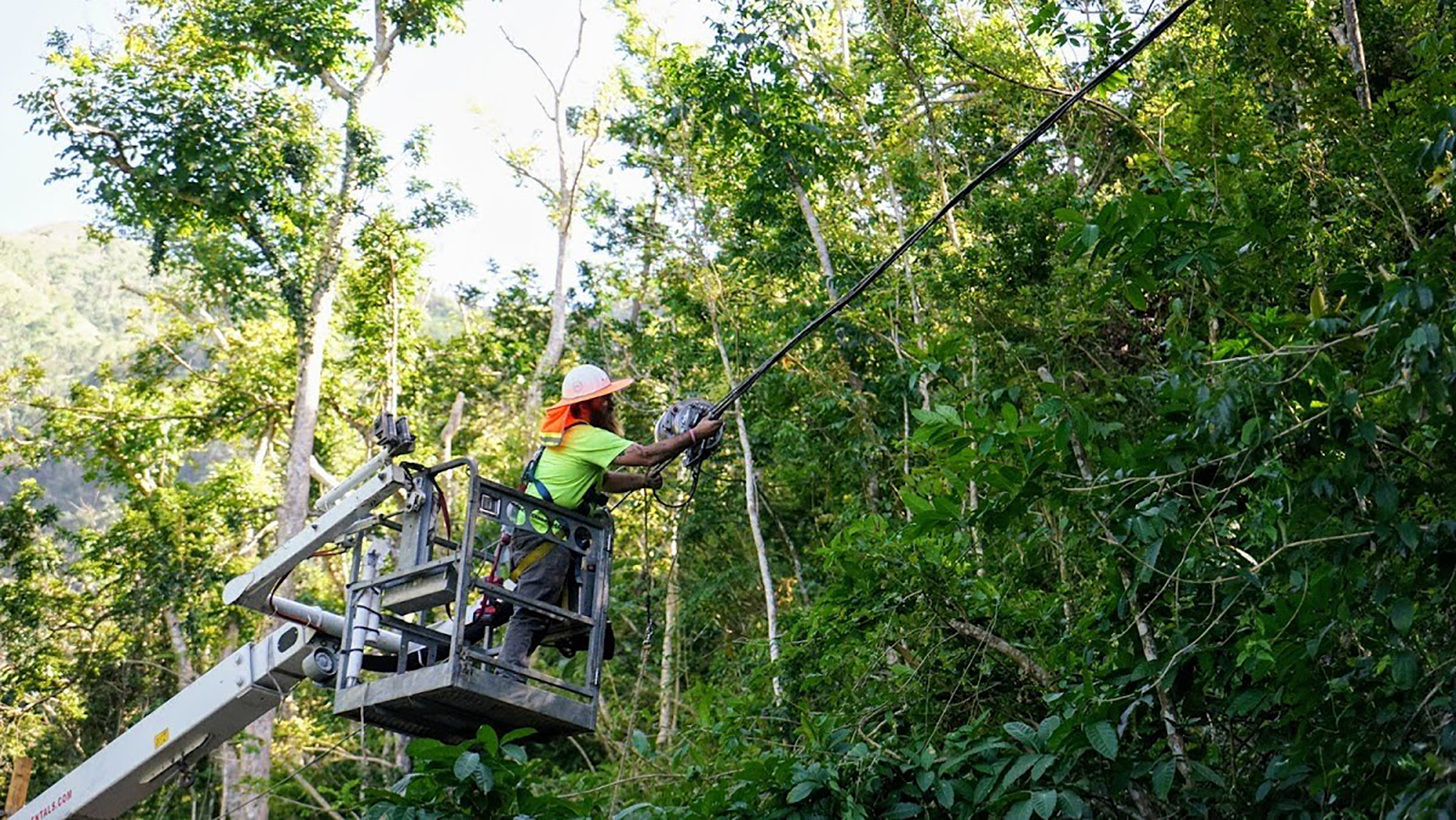 Power technicians work on downed lines in Puerto Rico after Hurricane Maria, which crippled the island's power system. The long-term power outage was linked to thousands of deaths on the island, including of patients without access to medical treatments like dialysis or oxygen that require electrical power. (Photo by Erika Rodriguez for Direct Relief)