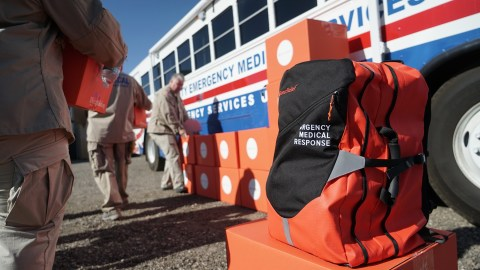 The Ventura County Medical Reserve Corps received 50 Emergency Medical Backpacks on Oct. 31, hours before they were deployed for the Maria Fire, which broke out overnight. The backpacks from Direct Relief contain emergency medical supplies commonly needed in a disaster setting. (Lara Cooper/Direct Relief)