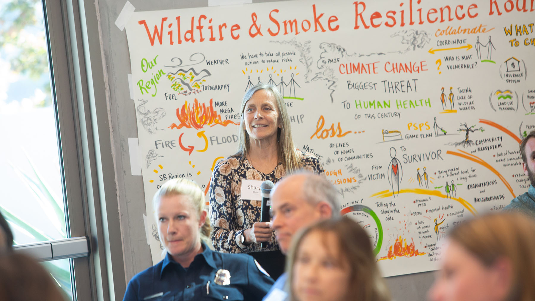 Attendees brainstorm ideas for increasing community resilience against wildfires and smoke. (Sarita Relis/ Community Environmental Council)