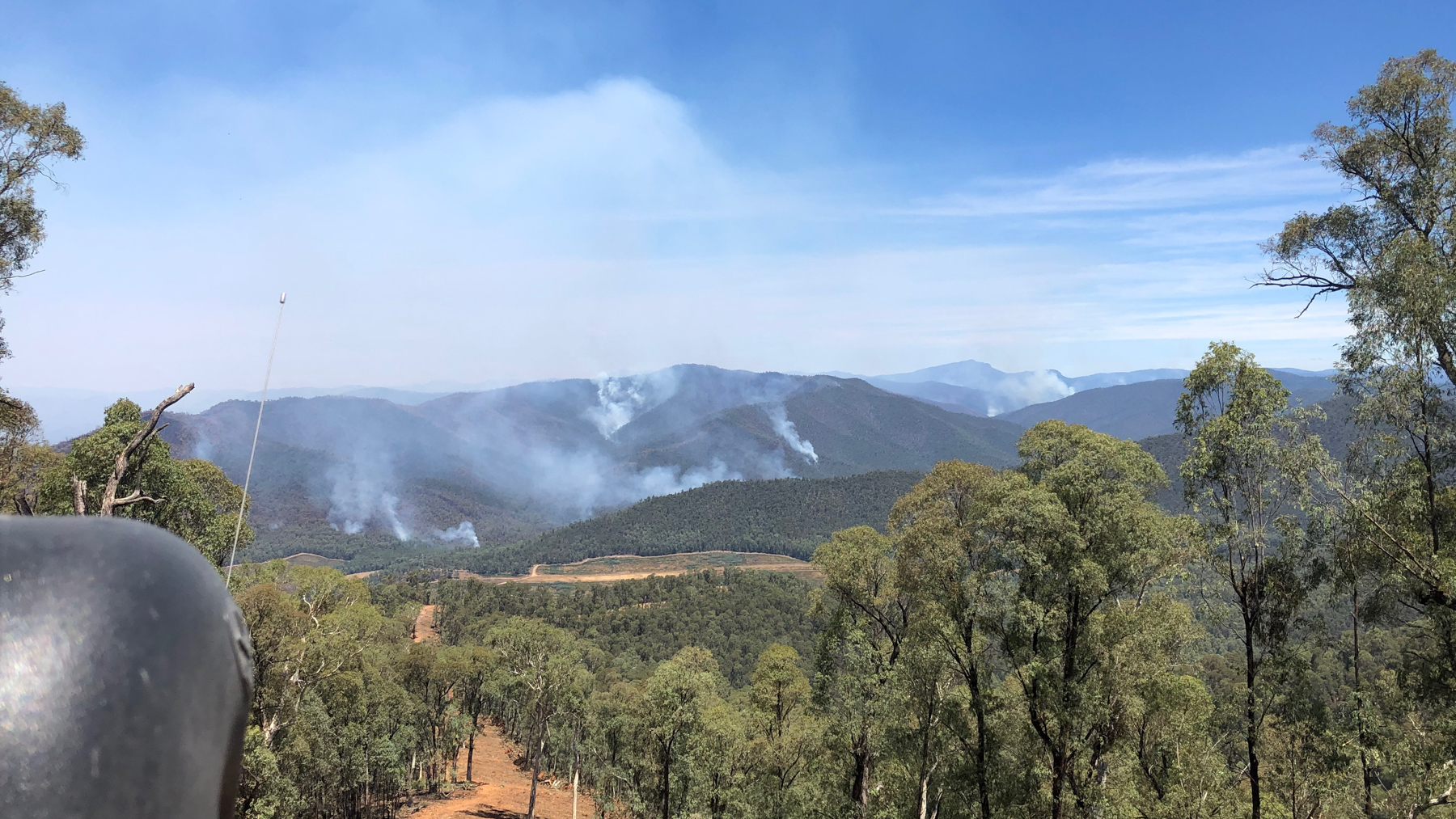 Bushfire near Moyhu that Sampson's brigade fought on January 11 (Photo Courtesy of Moyhu Fire Brigade)