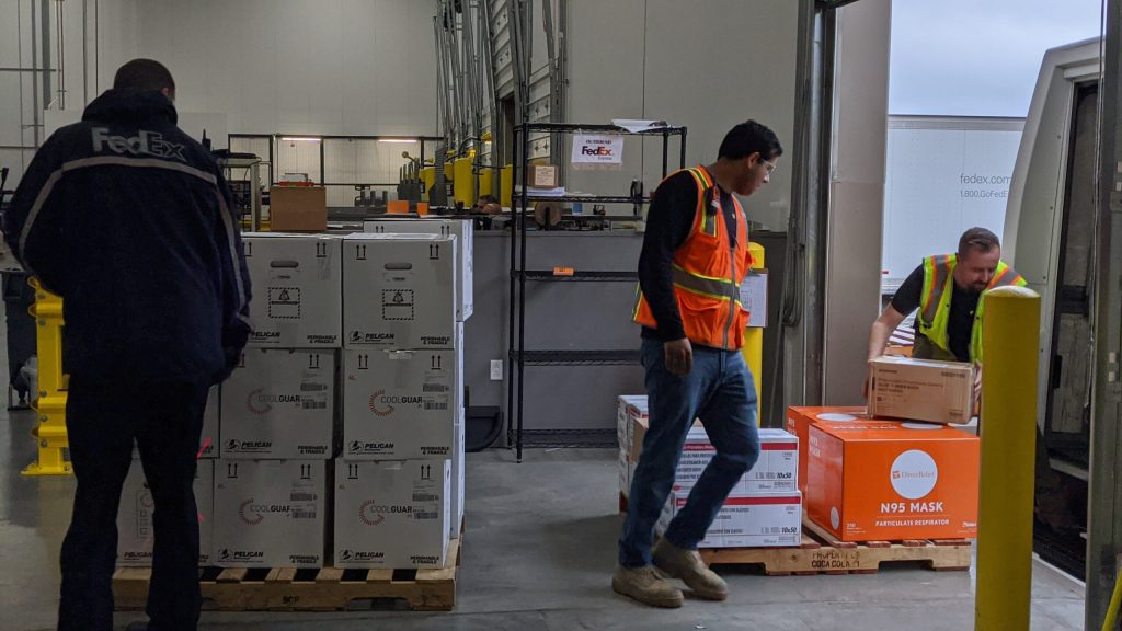 Shipments of requested medical aid depart Direct Relief's warehouse on March 16, 2020, bound for health care providers in the United States. (Tony Morain/Direct Relief)