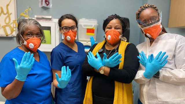 Staff at Ubi Caritas Free Clinic in Beaumont, Texas, with Direct Relief donated protective gear. Safety-net health providers across the United States are working overtime during the Covid-19 pandemic to provide patient care to the most vulnerable, and new stream of funding will support their essential work. (Courtesy photo)