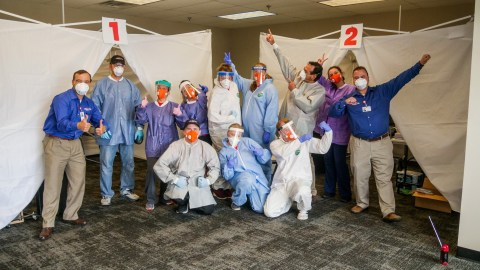 Northwest Health Services staff in Direct Relief N95 masks. (Photo Courtesy of NHS)