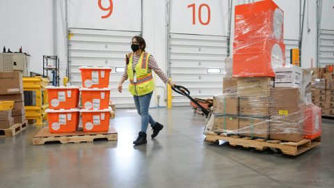 Medical aid, including essential medicines and N95 masks, depart Direct Relief's warehouse for health centers in California wildfire-impacted communities, including the Big Sur Health Center, on Aug. 24, 2020. (Lara Cooper/Direct Relief)