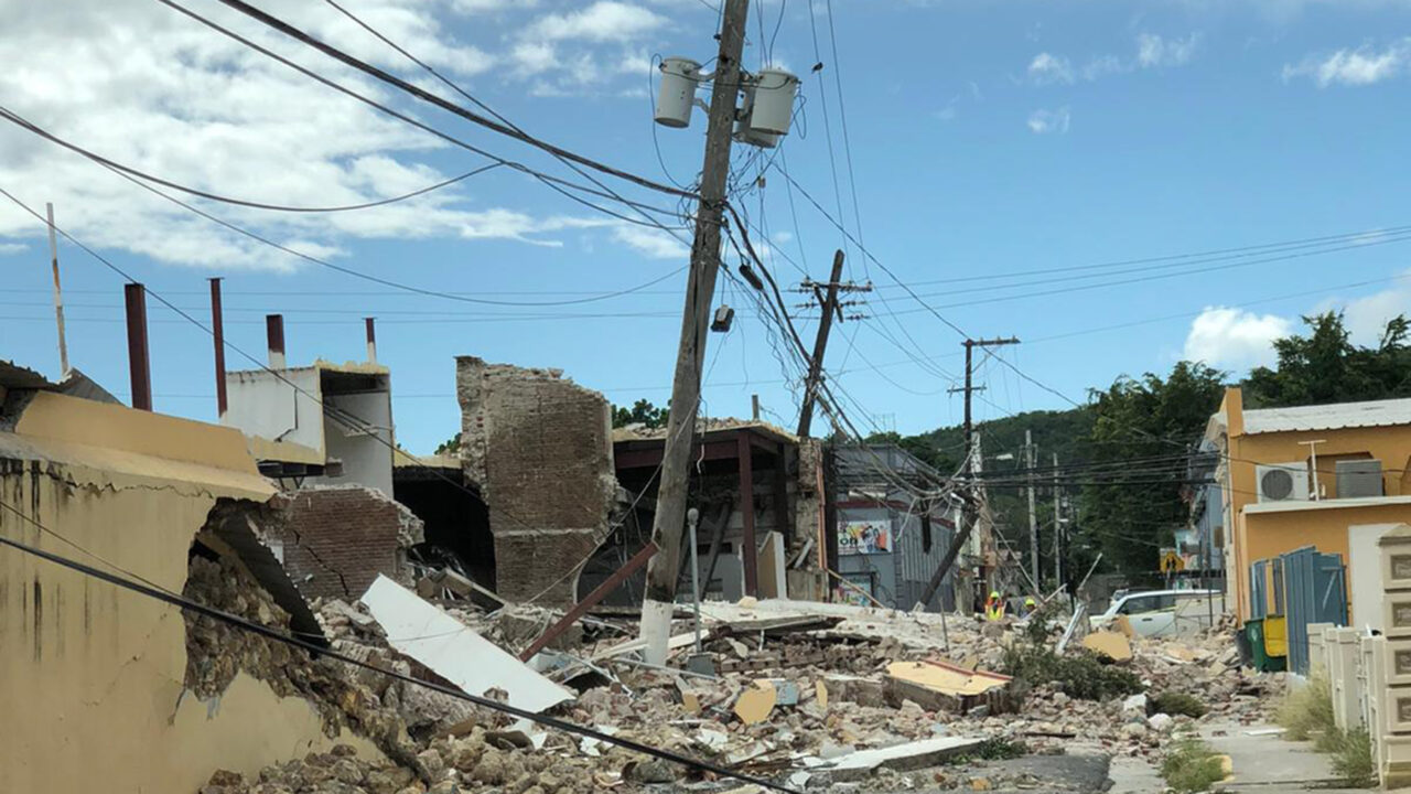 Damage from a 6.4-magnitude earthquake is seen in Guayanilla, Puerto Rico, on January 8, 2020. For many Puerto Ricans, the earthquakes that began in late December of last year have caused repeated interruptions to power, which is dangerous for children relying on an electronic medical device. (Direct Relief photo)