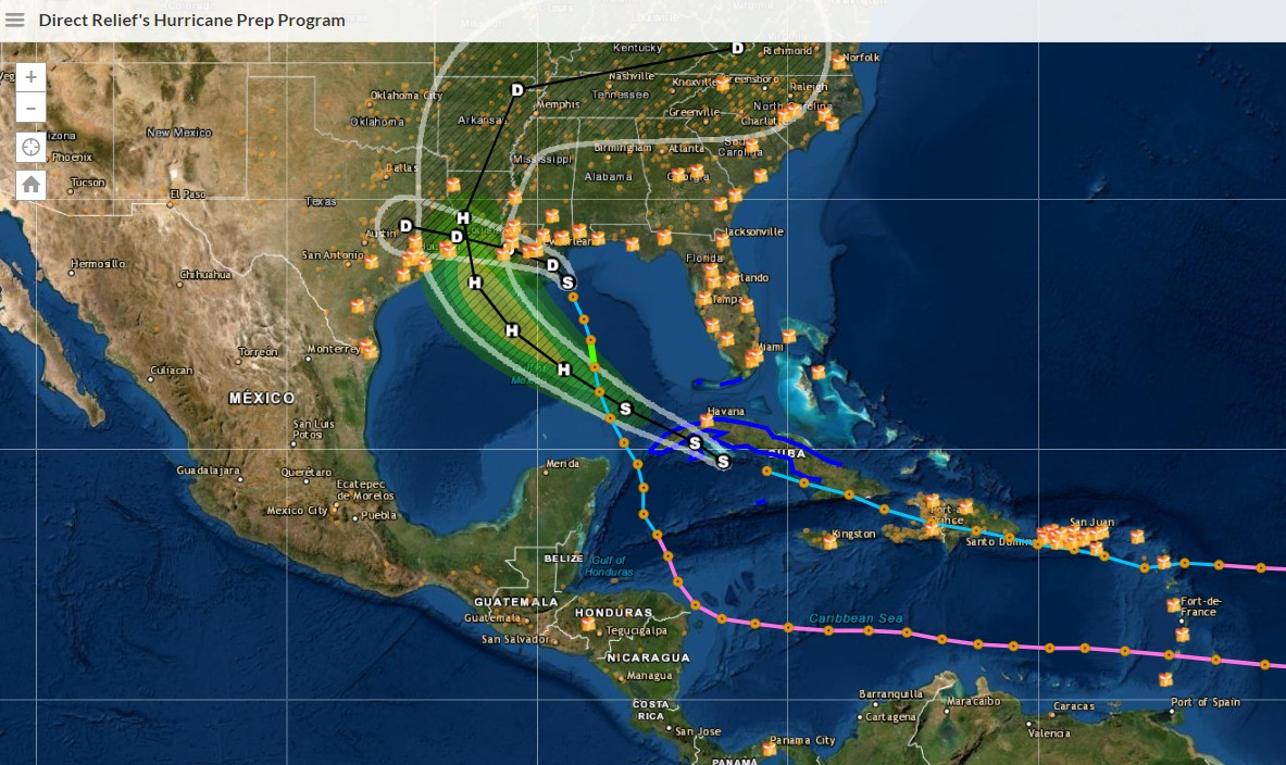 Click the map above to explore Direct Relief's Hurricane Preparedness Program and the path of current storms.