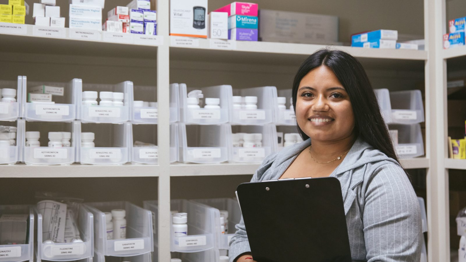 Healthcare Provider Ines Mendoza in the pharmacy of the Santa Barbara Neighborhood Clinics, in Goleta, California, on Friday, October 23, 2020. The Santa Barbara Neighborhood Clinics are among the hundreds of community health centers across the U.S. that received Bayer-donated IUDs to bolster reproductive health services for uninsured women. (Photo by Erin Feinblatt for Direct Relief)