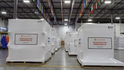 Medical aid staged in Direct Relief's warehouse on Nov. 10, 2020, before being deployed to Honduras in response to hurricanes in the region. (Tony Morain/Direct Relief)
