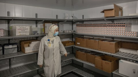 Raeda Bitar, a pharmacist at Rafik Hariri University Hospital where insulin units are stored. Direct Relief has been able to provide critical donations to the facility since 2020's explosion. (Photo by Francesca Volpi for Direct Relief)