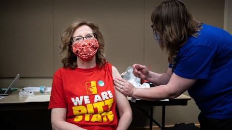 A patient receives a vaccine at Community Health Center of Southeast Kansas. (Photo courtesy of Community Health Center of Southeast Kansas)