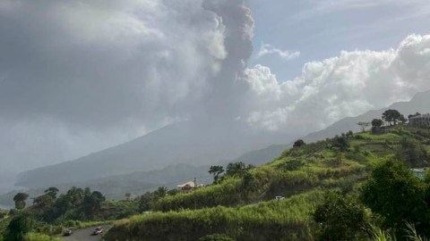 A view of St. Vincent and the Grenadines' La Soufriere volcano. (Photo courtesy of the University of the West Indies Seismic Research Center)