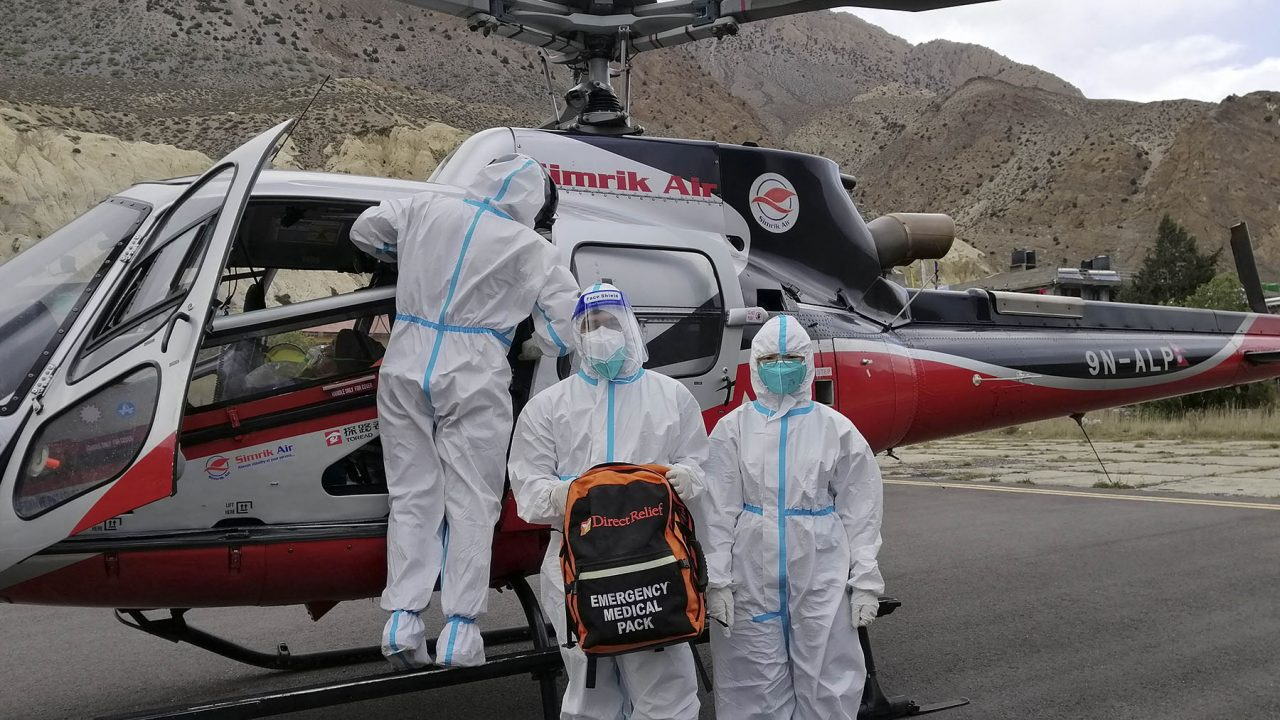 Volunteers with Mountain Heart Nepal prepare to provide medical support to an airlifted patient. (Photo courtesy of Mountain Heart Nepal)