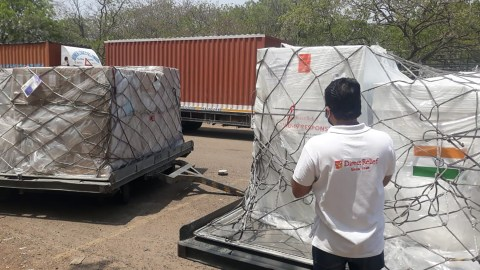 Medical aid arrives in Delhi, India, on May 16, 2021, after a second donated charter flight from FedEx arrived in-country. The shipment included 1.8 million KN95 masks, oxygen concentrators, and other medical aid requested by hospitals dealing with Covid-19 surges in the region. (Direct Relief photo)