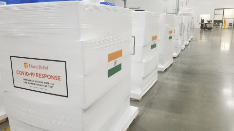 Shipments are staged at Direct Relief headquarters on May 15, 2021, bound for health facilities in Mumbai, India. (Thomas Tighe/Direct Relief)