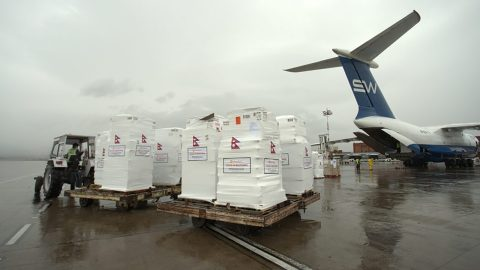 Direct Relief-chartered airlift carrying hundreds of oxygen concentrators lands in Nepal. Photo: Pranjal Sharma/Direct Relief