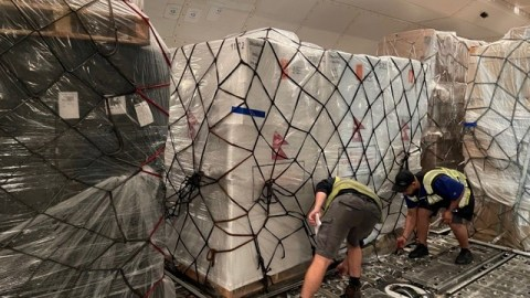 Shipments of PPE and Covid-19 aid are loaded onto charter aircraft in Chicago on May 25, 2021, bound for health facilities in Nepal. Recipients of these shipments include One Heart Worldwide and Dhulikhel Hospital. This is in response to Nepal's recent surge in cases. (Photo courtesy of Silk Way West Airlines)