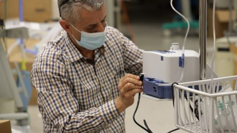 Staff at the American University of Beirut Medical Center assemble high-flor oxygen concentrators for Covid-19 patients on June 18, 2021. The purchase was made possible by a grant from Direct Relief, in coordination with NGO Anera. (Photo courtesy of Anera)