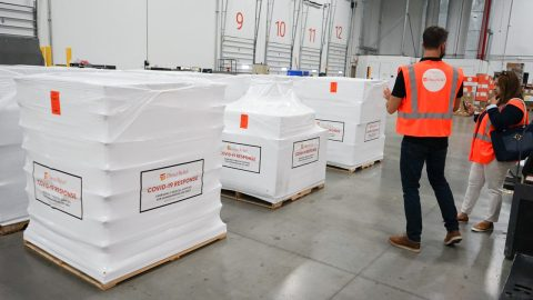 A shipment of personal protective equipment, oxygen concentrators, and other requested supplies for Covid-19 response was staged on July 2, 2021 at Direct Relief's warehouse before departing for health facilities in Sri Lanka. (Lara Cooper/Direct Relief)