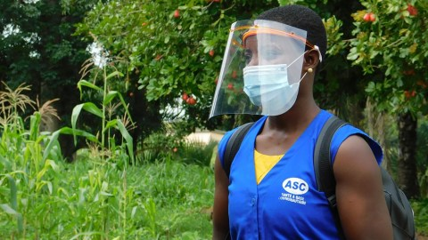 A community health worker from Intergrate Health in Togo. Direct Relief shipped PPE to Integrate Health over the past week. (Integrate Health photo)