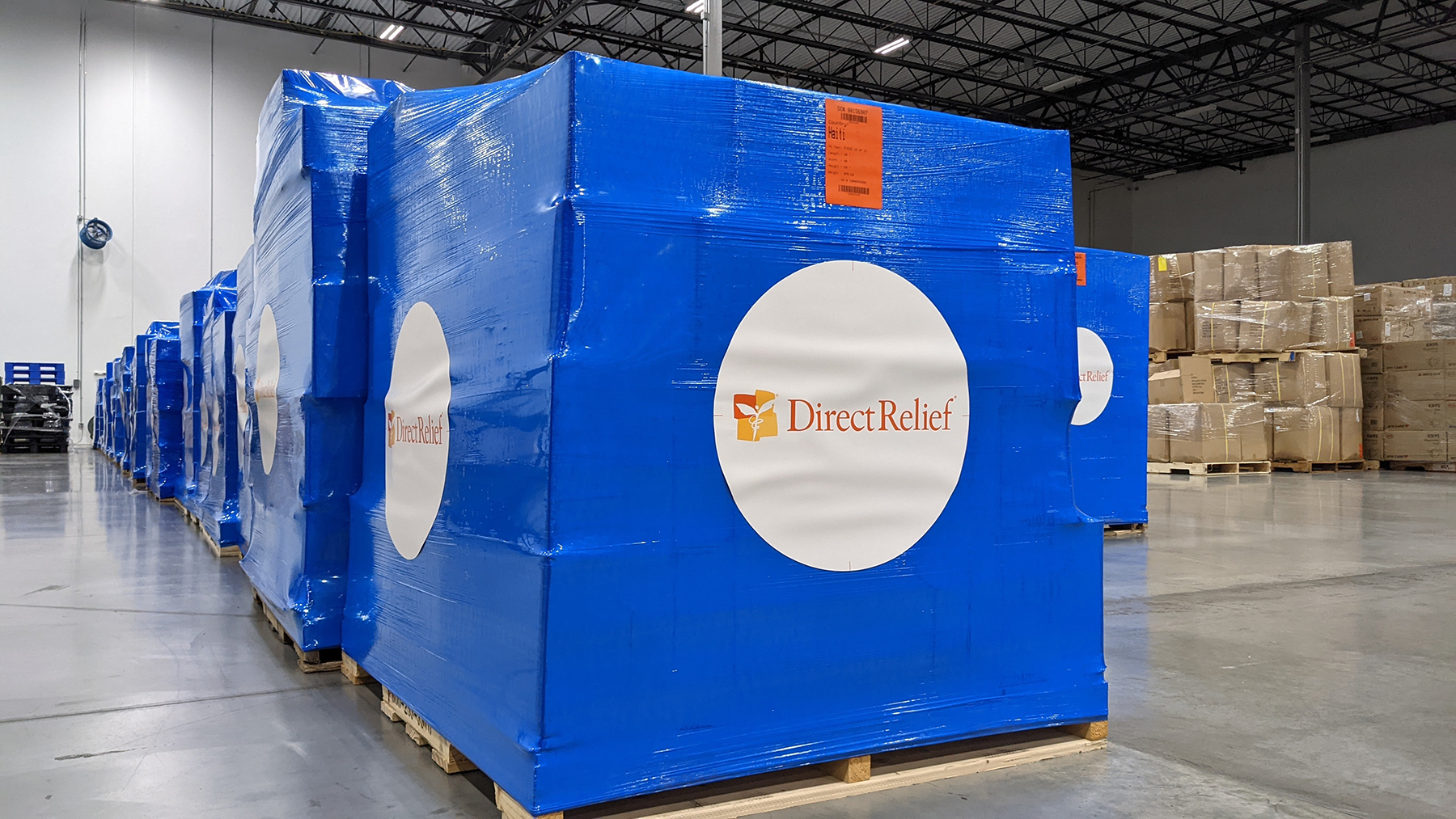 Medical aid for Haiti is staged in Direct Relief's California distribution center, in preparation for a chartered flight to the country. (Direct Relief photo)