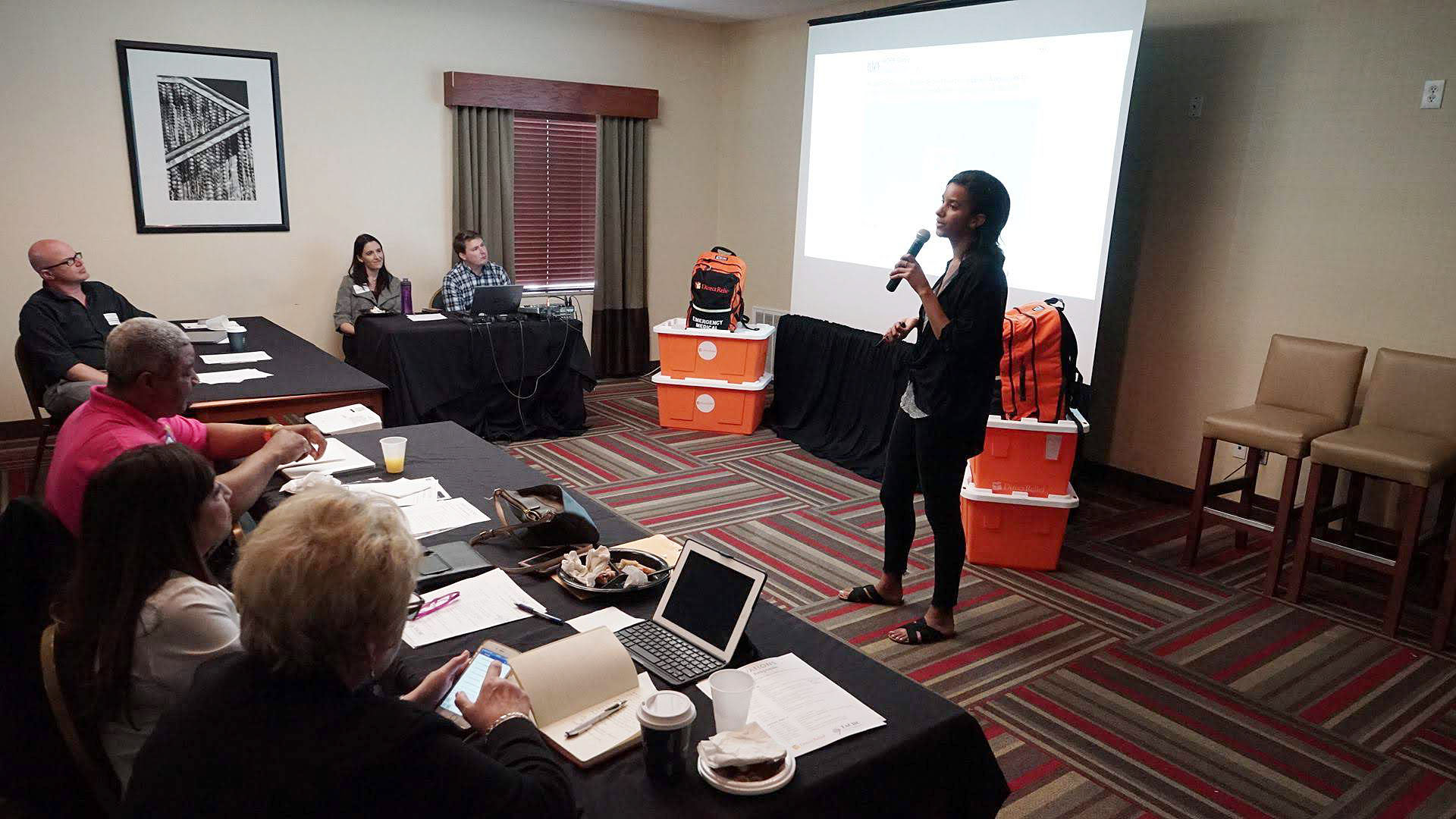 Direct Relief's Bryn Blanks leads a session during Direct Relief's crisis communications workshop in Houston in May 2018. (Lara Cooper/Direct Relief)