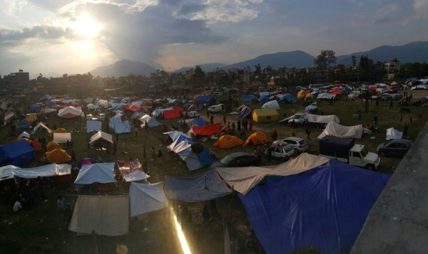 Nepal Earthquake - Displaced People set up Tents