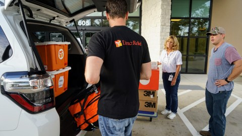 Direct Relief staff delivers emergency medical aid to Lone Star Family Health Center in Texas following Hurricane Harvey.