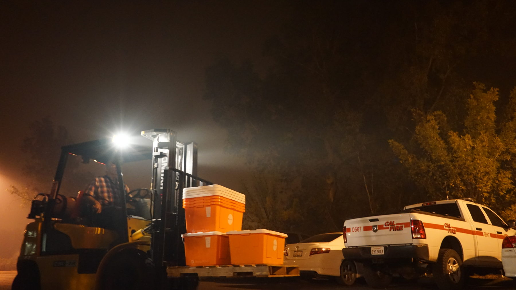 Direct Relief supplies arrive in Butte County, CA to assist wildfire relief efforts. (Drew Fletcher/Direct Relief)