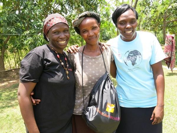 Habiba, Noreen, Pauline with Dignity Kit