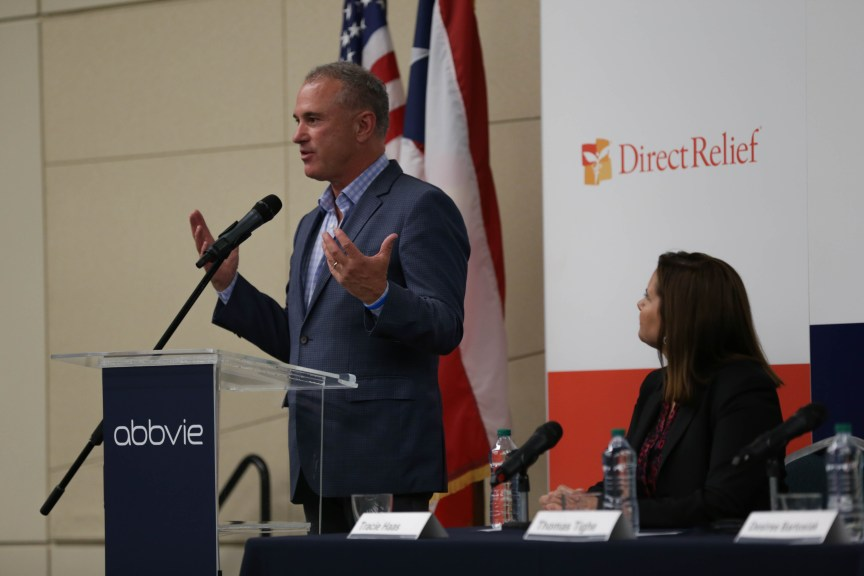 Direct Relief CEO Thomas Tighe speaks in San Juan, Puerto Rico. (Lara Cooper/Direct Relief)