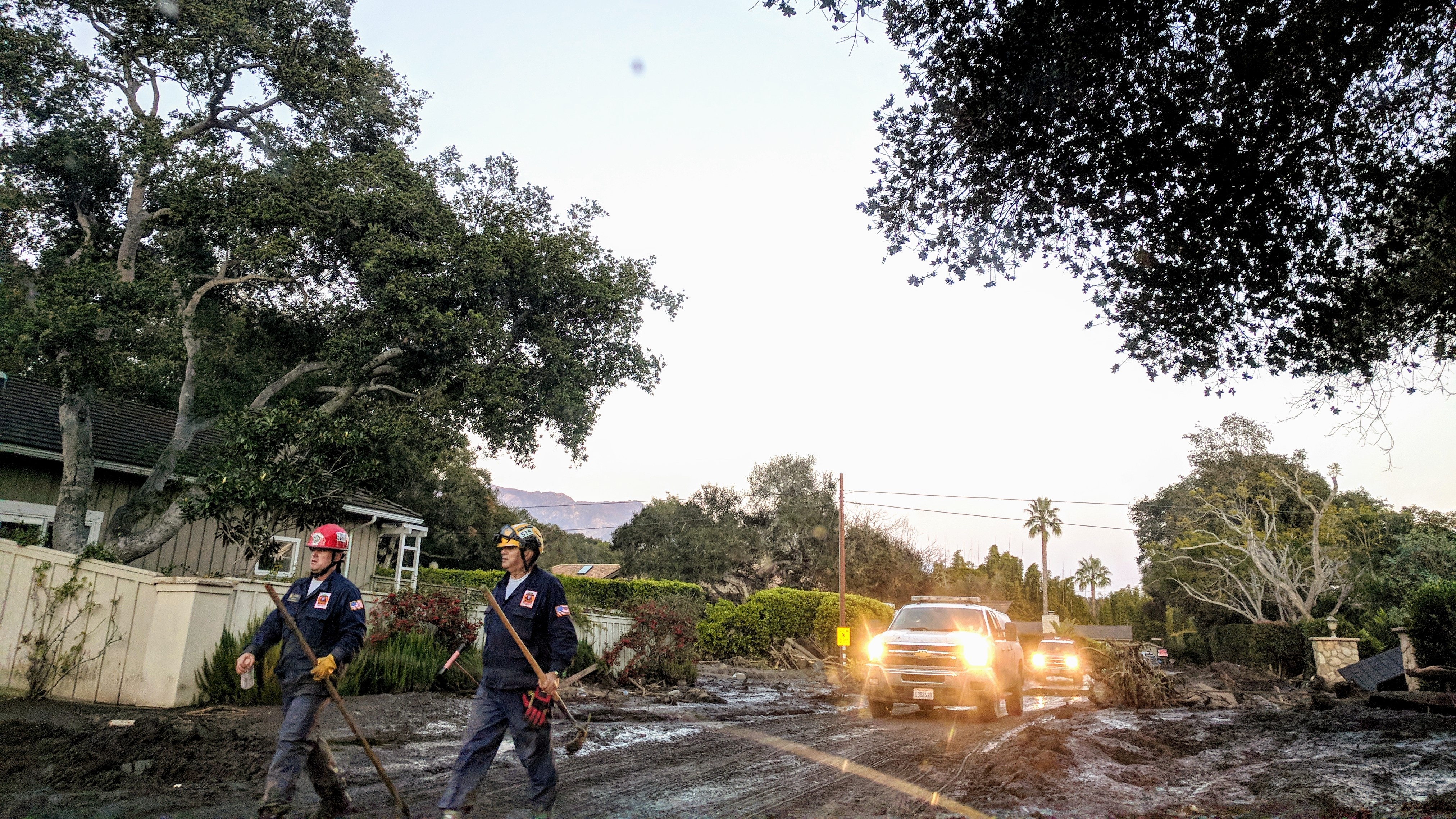 First responders dig through debris in Montecito on Jan. 11, 2018, after the devastating mudslides ripped through fire-impacted communities. The public was advised to be alert to certain health conditions associated with natural disasters, disaster cleanup, and repopulation of impacted areas. (Tony Morain/Direct Relief)