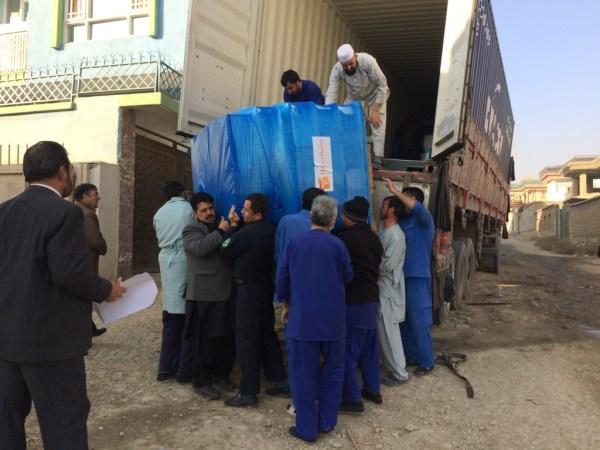 Critical aid arrived at Afshar Hospital in December 2016 after a long and arduous journey across the world.