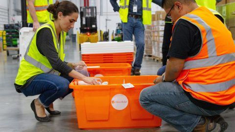 Inhalers, N-95 masks, eye wash and essential medicines leave Direct Relief's warehouse Thursday night bound for areas impacted by the Hill Fire in Ventura County. (Lara Cooper/Direct Relief)