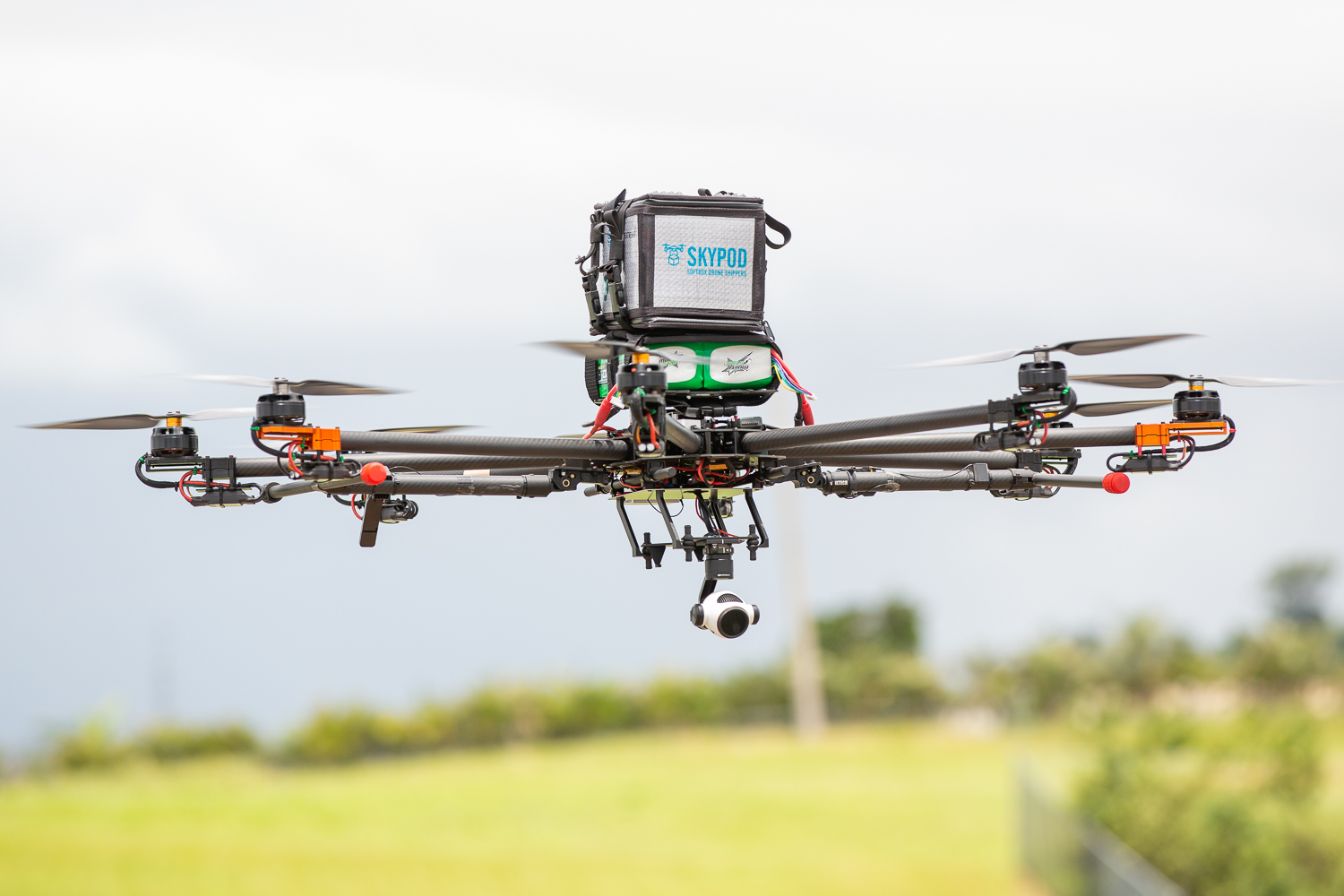 A drone lifts off during a test flight in Puerto Rico this week. Direct Relief, AT&T, Softbox, and Volans-i were all part of a pilot project that tested transporting medicine by drone, a system that could be replicated during the next emergency to reach areas cut off by storm damage or limited supply chains. (Photo courtesy of Merck)