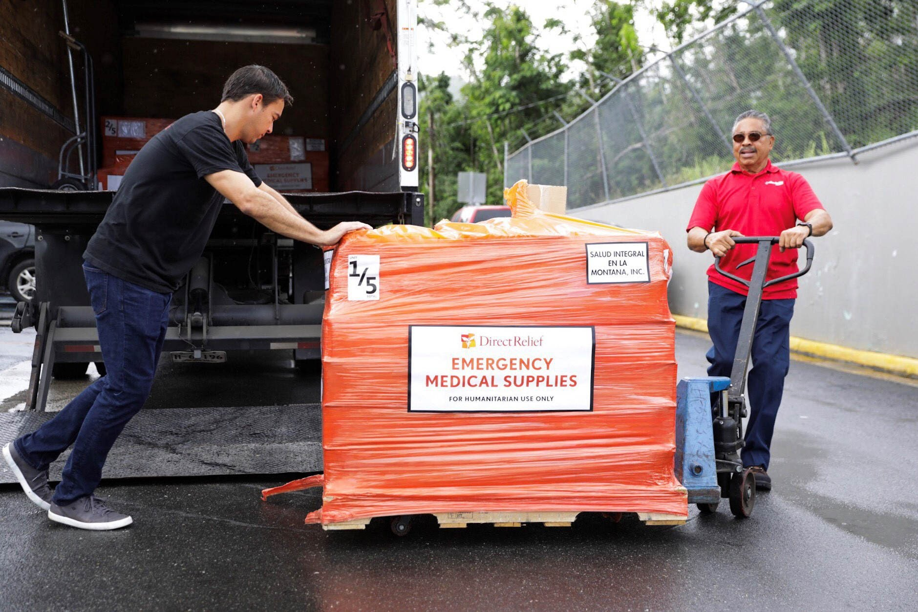 79,365 lbs of medications, nutritionals and medical supplies from Direct Relief arrived at the Luis Muñoz Marín International Airport in San Juan. The supplies were staged for distributionin San Juan at a warehouse donated by ABF Freight, on Tuesday, Dec. 19. (Photo by Donnie Hedden for Direct Relief)
