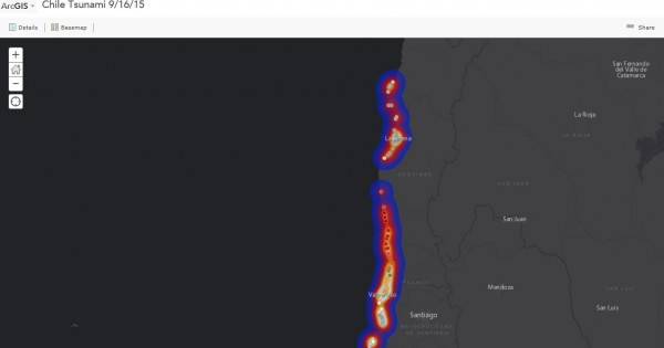 Tsunami Warning Map - Chile Earthquake