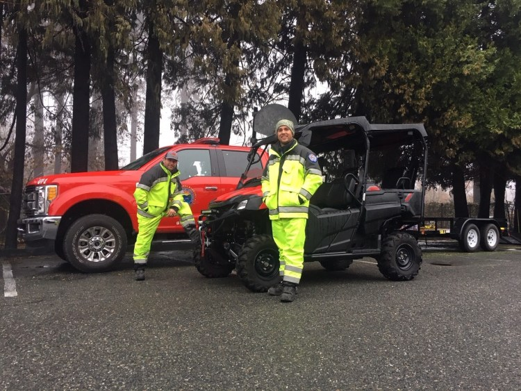 Santa Barbara City Firefighters pictured in Paradise, California. They assisted local responders in the search for remains and used offroad vehicles purchased by Direct Relief for the Thomas Fire. (Photo courtesy of Santa Barbara City Fire)